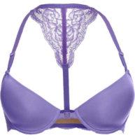 Vystužená fialová podprsenka s ramienkami za krk a predným zapínaním